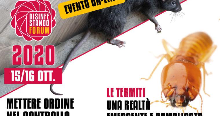 Affiche Forum disinfectando 2020 avec un rat et une termite
