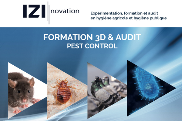 Logo Izinovation avec image de rat, blatte, pigeon et bactérie pour la formation 3D & Audit pest control