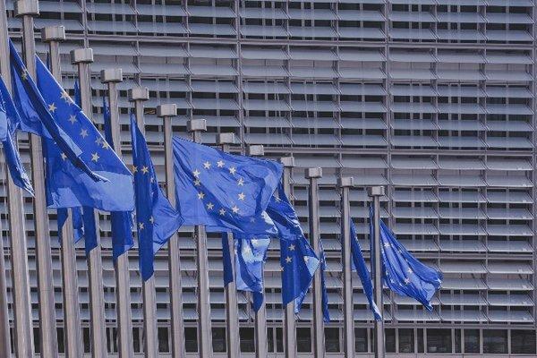 Plusieurs drapeaux européens alignés devant des bâtiments